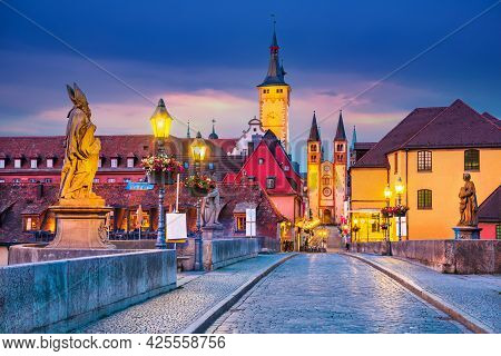 Wurzburg, Germany. Old Town With Cathedral And Old Main Bridge, Part Of The Romantic Road, Franconia