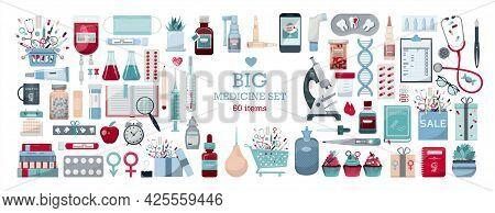 Big Vector Medical Set. Medicine Cartoon Pill, Drug, Table, Antibiotics, Medication Dose Flat Icons.