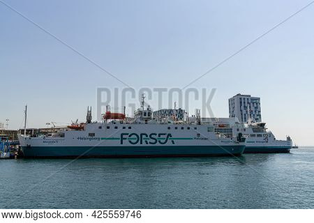 Helsingborg, Sweden - 17 June, 2021: The Forsea Ferry At The Ferry Terminal In Helsingborg