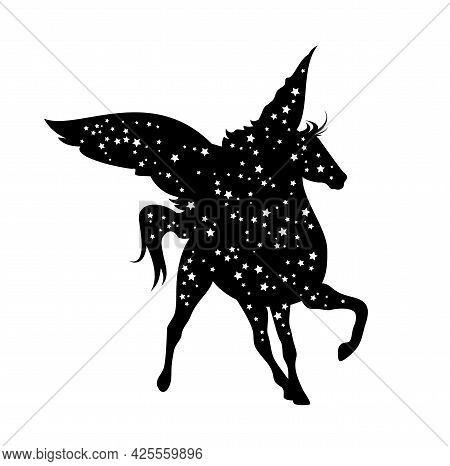 Winged Pegasus Horse Silhouette And Starry Night Sky - Greek Mythology Inspiration Symbol Black And