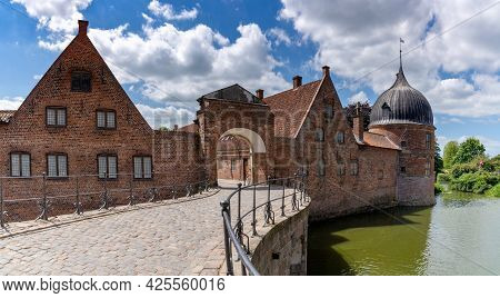 Hillerod, Denmark - 16 June, 2021: Detail View Of The Palatial Complex At Frederiksborg Castle In Hi