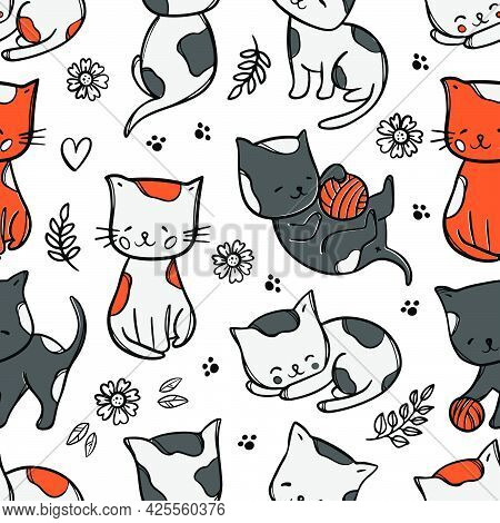 Color Kitty Pattern Cute Cats Babies Dream And Play Among Flowers And Leaves Cartoon Hand Drawn Abst