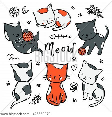 Colorful Kitties Cute Cats Babies Dream And Play With Ball Among Flowers And Leaves Cartoon Hand Dra