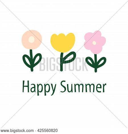 Simple Flower Doodles Logo Template Vector. Minimalist Flower Summer. Floral Greeting Card Icons Hap