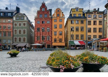Stockholm, Sweden - 23 June, 2021: View Of The Colorful Stortorget Square Houses In Downtown Stockho