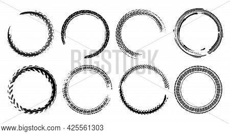 Skid Marks Circles Set. Isolated Vector Illustration