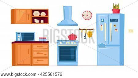 Kitchen Furniture Image. Isolated Editable Vector Illustration