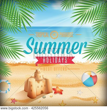 Hello, Summer Vector Background Design. Hello Summer Greeting Text In Seashore Background With Beach