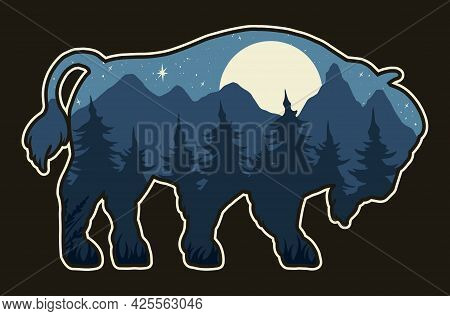 Bison Silhouette Vintage Concept With Night Forest And Mountains Landscape Inside It Isolated Vector