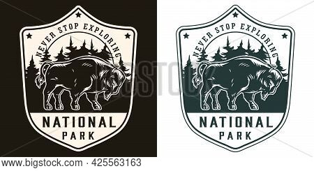 National Park Vintage Print In Monochrome Style With Bison On Forest Landscape Isolated Vector Illus