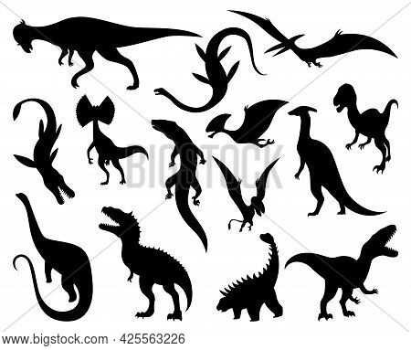 Dinosaurs Silhouettes Set. Dino Monsters Icons. Prehistoric Reptile Monsters. Vector Illustration Is