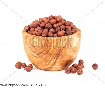 Pile Of Brown Chickpeas In Olive Bowl, Isolated On White Background. Brown Chickpea. Garbanzo, Benga