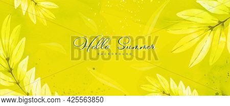Abstract Watercolor Hand-painted Background For Banner. Flower Botanical Leaves And Stains Shape Wat