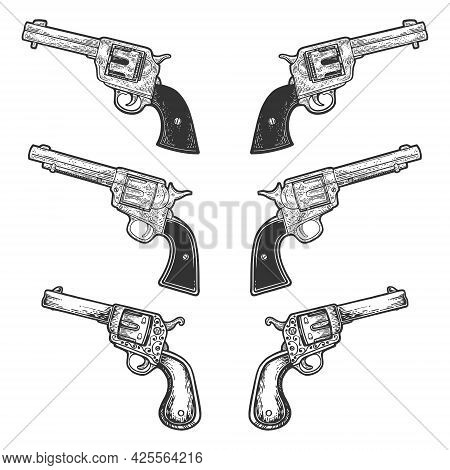 Collarbone Tattoo Revolvers Pistols Set. Vintage Historical Line Art Sketch Engraving Vector Illustr
