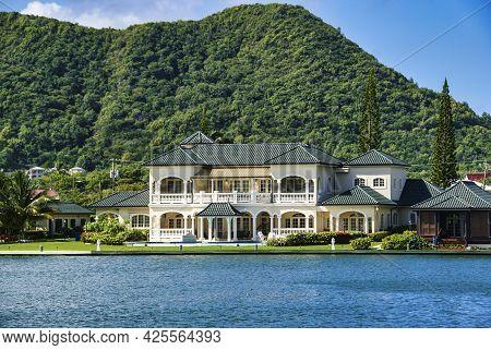 Beautiful Green Bay With Blue Waters, Rodney Bay, Saint Lucia, Caribbean Island, Windward Islands, W