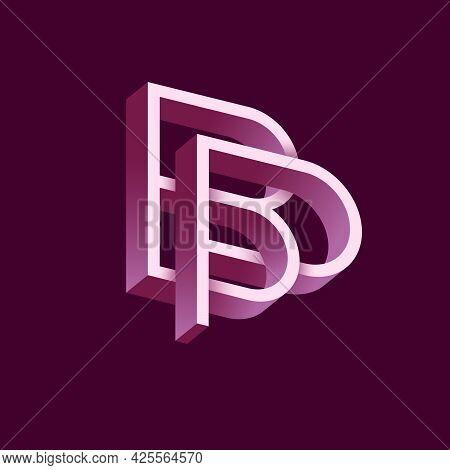 B And P Letters. Monogram Consist Of Volumetric Letters, Crossed, Impossible Figure. Monogram For Bu