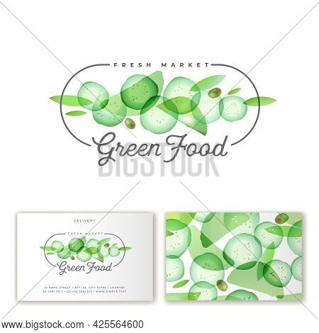 Green Food Logo. Slices Of Cucumber And Greens At Watercolor Style.  Emblem For Organic Green-food R