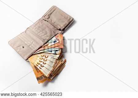 Money. Cash. Euro Bills In The Wallet. The Salary. Poverty And Wealth Concept. Money Savings. Poor,