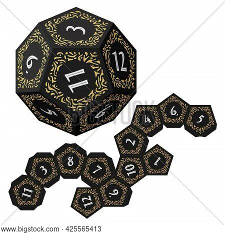 D12 Isometric Dice For Boardgames With Paper Unwrap Template