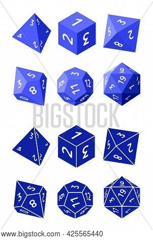 D4, D6, D8, D10, D12, And D20 Isometric Dice For Boardgames In Flat And Glyph Styles