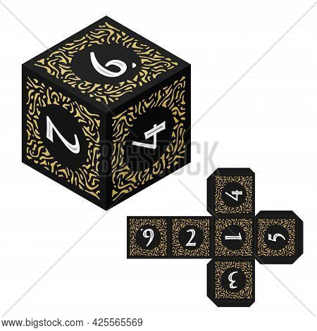 D6 Isometric Dice For Boardgames With Paper Unwrap Template