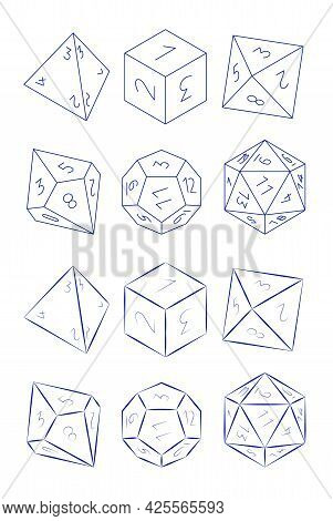 D4, D6, D8, D10, D12, And D20 Dice For Boardgames In Thin Line Style