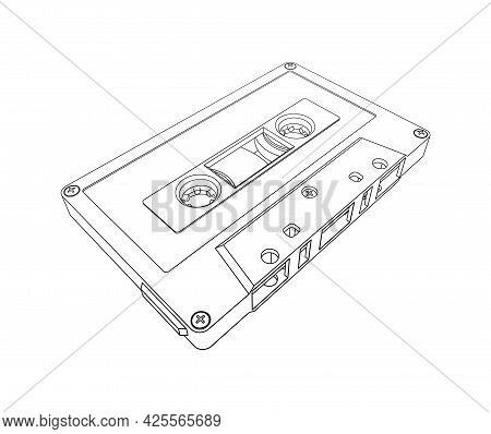 Compact Tape Audio Cassette In Outline Style