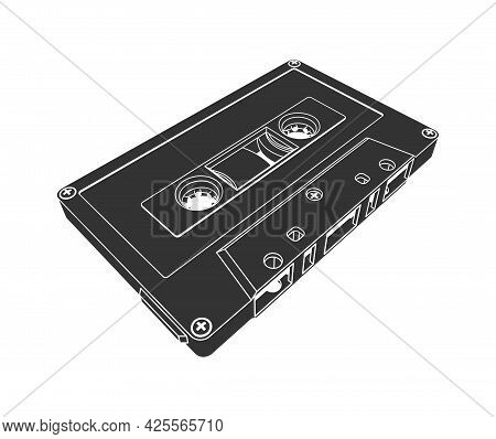 Compact Tape Audio Cassette In Silhouette Style