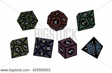 D4, D6, D8, D10, D12, And D20 Isometric Dice For Boardgames