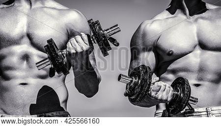Dumbbell. Muscular Bodybuilder Guys, Exercises With Dumbbells. Muscles With Dumbbell. Man Training W