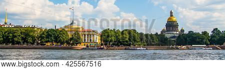 Beautiful Views Of St. Petersburg And The Neva River. City Attractions On A Summer Sunny Day.