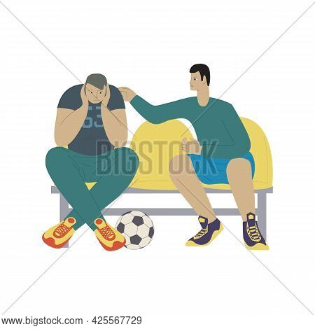 Cartoon Young People Are Sitting On A Bench With Soccer Ball. Footballer Pats Sad Guy On The Shoulde