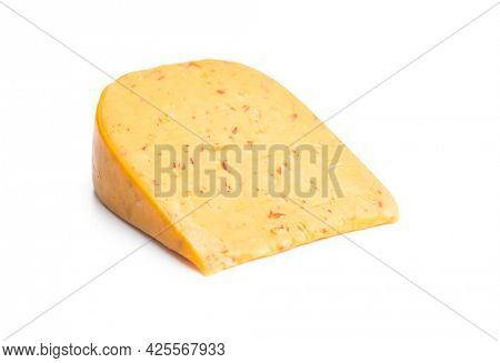 Block of hard cheese with chili flavor isolated on white background.
