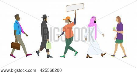 Isolated Multicultural People Walking Side View. Cartoon People In Different Postures While Walking.