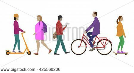 Isolated People Walking Side View. People Use Scooter, Bike, Skate, Backpack, Newspaper While Walkin