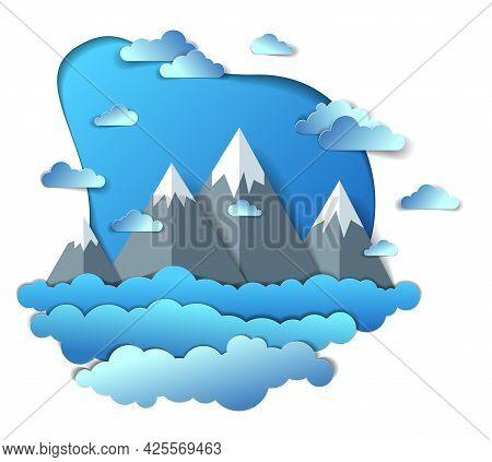 Scenic Landscape Of Mountain Peaks Range, Cloudy Sky, Summer Vector Illustration In Paper Cut Kids S
