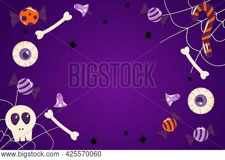 Banner For Halloween Purple Background With Place For Text. Spider Web, Candy, Bones, Eyes, Cute Hol