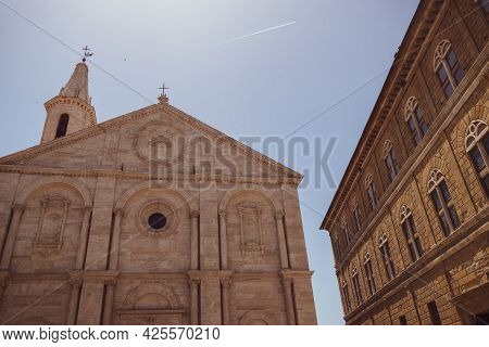 View Of The Beautiful Duomo In The Famous Town Of Pienza