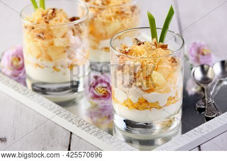 Chicken Salad With Pineapple, Corn, Seasoned With Greek Yogurt, Crushed Nuts And Grated Cheese. A Sa