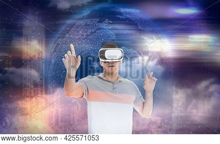 Man Using Virtual Reality Headset And Getting In Simulated Futuristic World, Banner Design