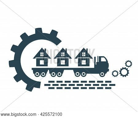 Vector Illustration Of The Logo, The Icon Of A Truck With A Trailer For Transporting Bulky Goods.