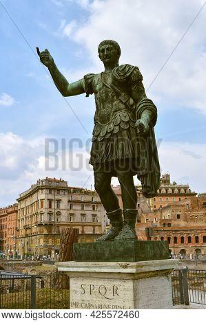 Rome, Italy - September 11, 2016 : Bronze Statue Of The Roman Emperorttrajan On Via Dei Fori Imperia