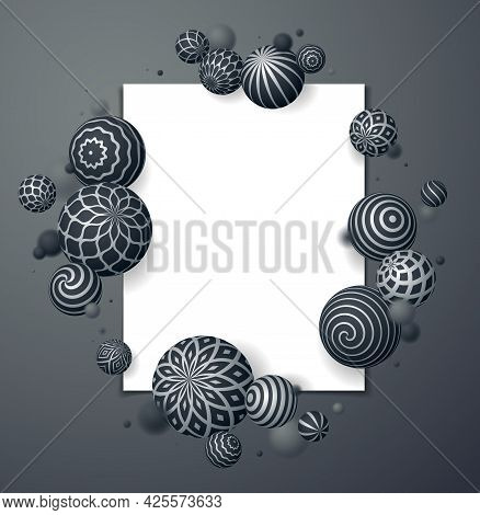 Abstract Spheres Vector Background With Blank Paper Sheet, Composition Of Flying Balls Decorated Wit