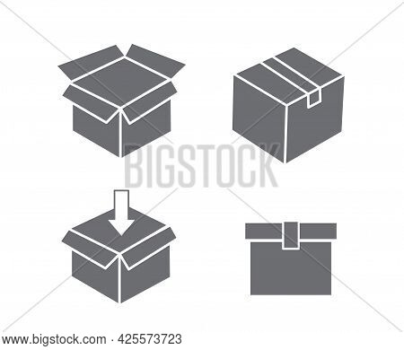 Cardboard Box Icon And Carton Packaging Box Isolated On A White Background. Closed And Open Box. Des