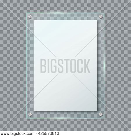 Realistic Blank Poster In Glass Frame Hanging On Wall Isolated On Transparent Background. Clear Vert