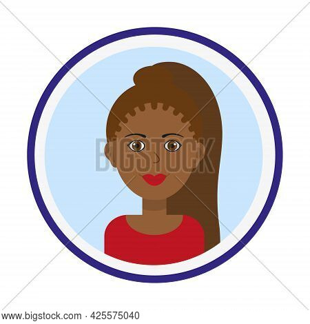 Female Avatar. Cute Black Woman Portrait On Blue Background. Smiling Girl Face With Brown Long Pony