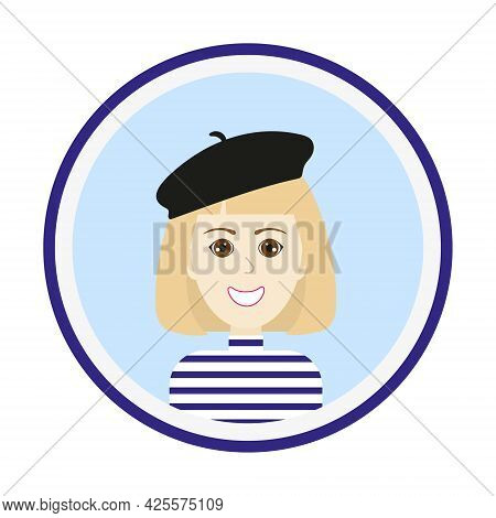 Female Avatar. Cute Woman Portrait On Blue Background. Smiling Girl Face With Medium Length Blond Ha