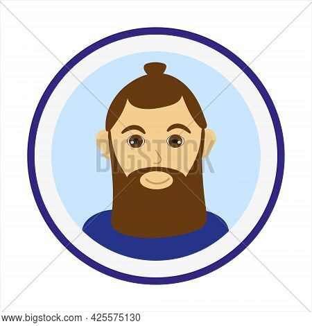 Smiling Man Face With Brown Hair, Bun Hairstyle And Big Beard. Male Face. Man Avatar On Blue Backgro