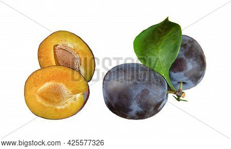 Two Plums Isolated On A White Background. Whole Plum And Plum Cut With Leaf And Bone. Ripe Blue Swee