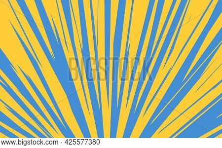 Pop Art Radial Colorful Comics Book Magazine Cover. Striped Blue And Yellow Digital Background. Cart